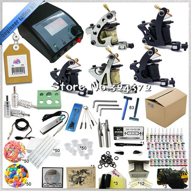ФОТО Tattoo equipment glitter tattoo kit with 5 guns+ needles+tips beginner tattoo kit with Teaching CD easy operation beauty tools