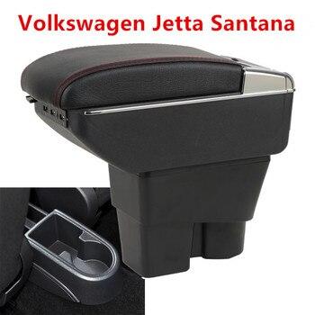 Caja de reposabrazos de consola central de coche de cuero para Volkswagen VW Santana/Jetta 2013 2014 2015 2016 reposabrazos con USB envío gratis