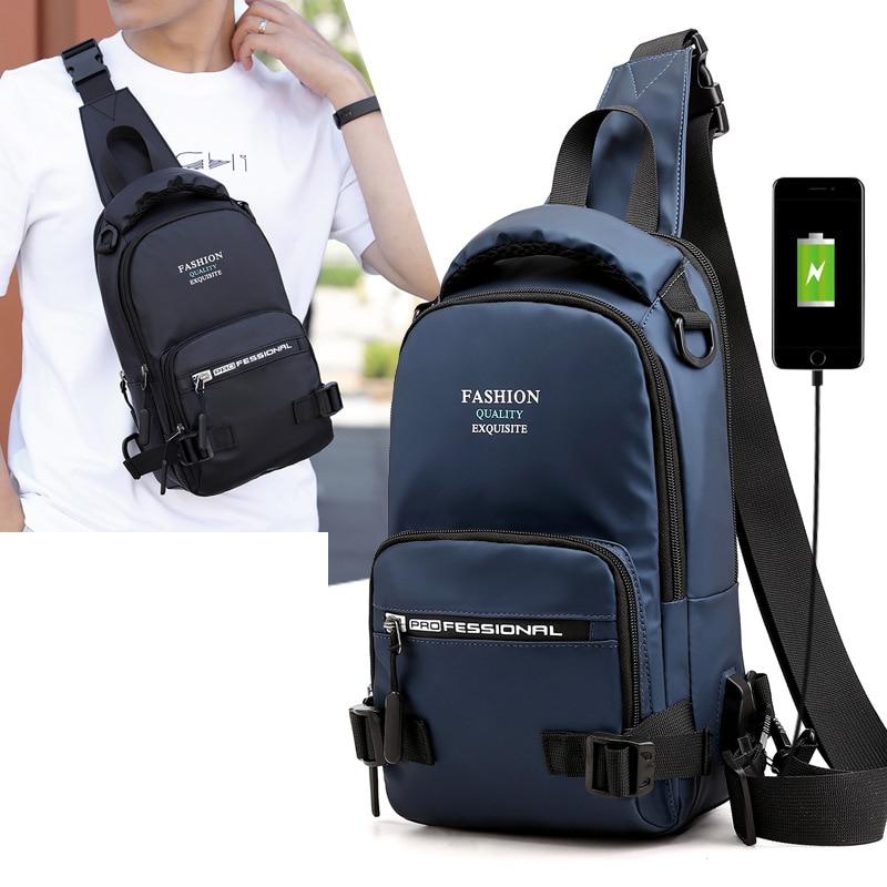Нейлоновая военная сумка через плечо, мужская сумка на ремне, зарядка через USB интерфейс, повседневный модный мужской рюкзак на одно плечо-in Рюкзаки from Багаж и сумки