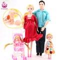 Ucanaan toys familia 5 personas muñecas trajes 1 mamá/1 papá/2 poco Kelly Chica/1 Bebé Hijo/1 Carro de Bebé Real Embarazada Muñeca Regalos