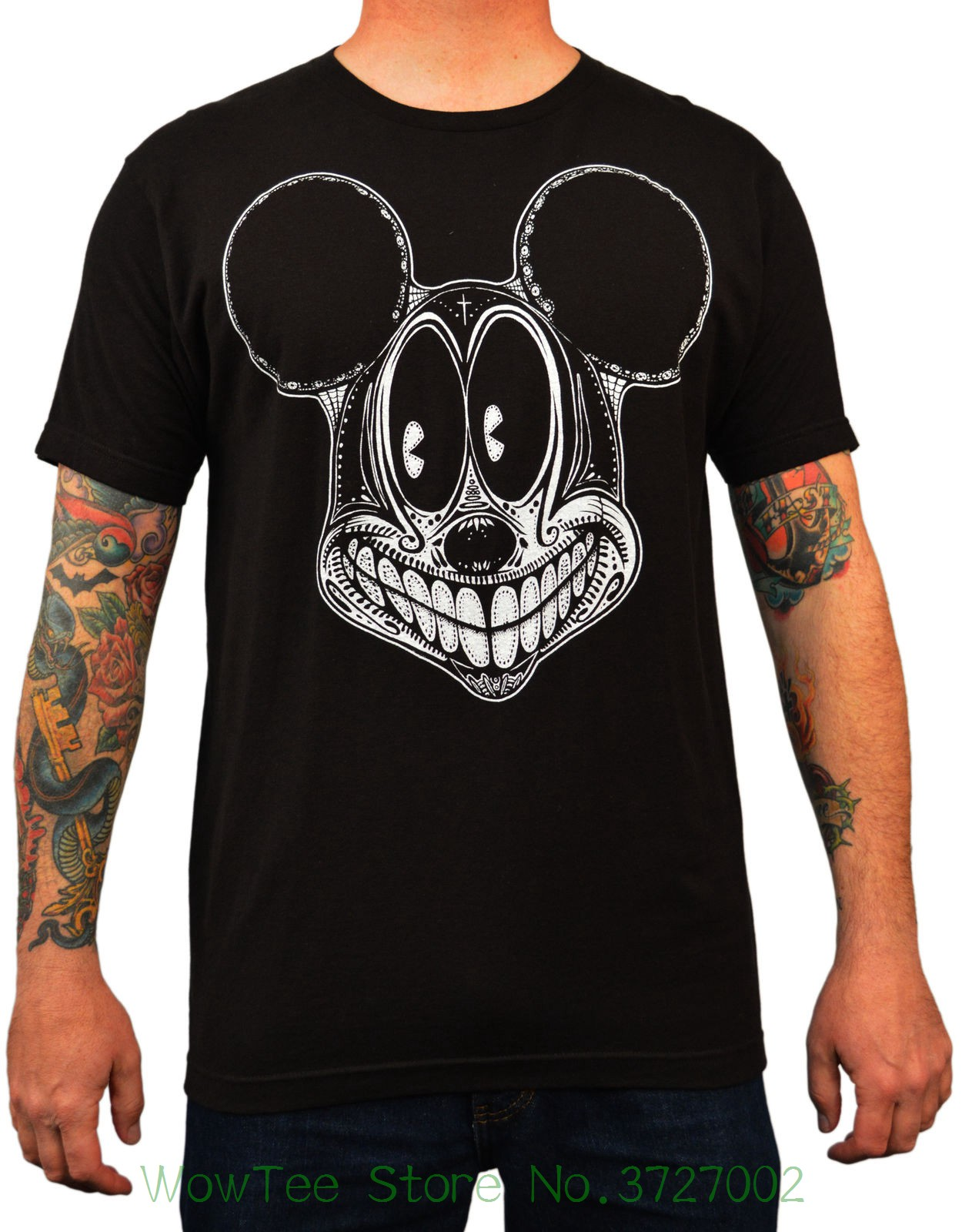 Men's Spooky Mouse By Josh Stebbins Tattoo Art Design T-shirt Black Small Fashion Design Free Shipping