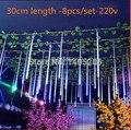 1Set Free shipping 8pcs/set 30CM 220V/110V EU/US plug colorful christmas Rain tube christmas garden lights led meteor tube