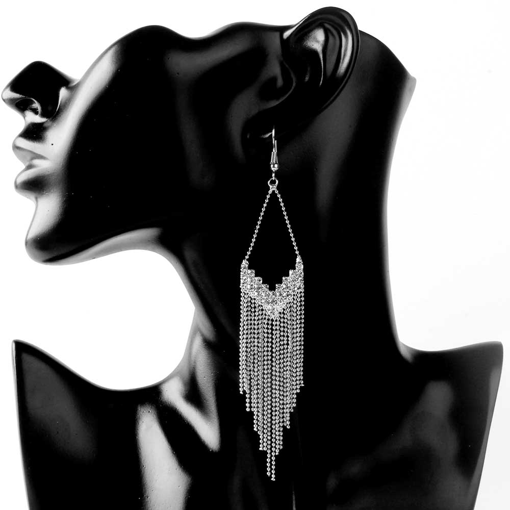 Crazy Feng New Trendy Women Long Tassel Dangle Earring Big V Letter Shape Drop Crystal Earrings For Party Jewelry Gift