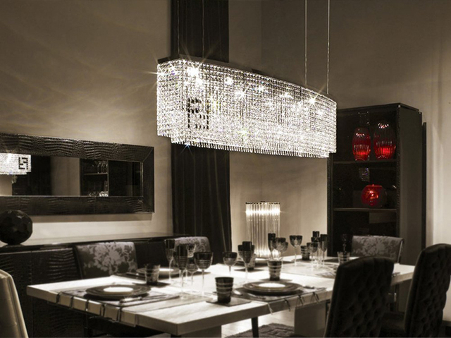 Delightful Modern Contemporary Luxury Linear Island Dining Room Double F Crystal  Chandelier Lighting Fixture