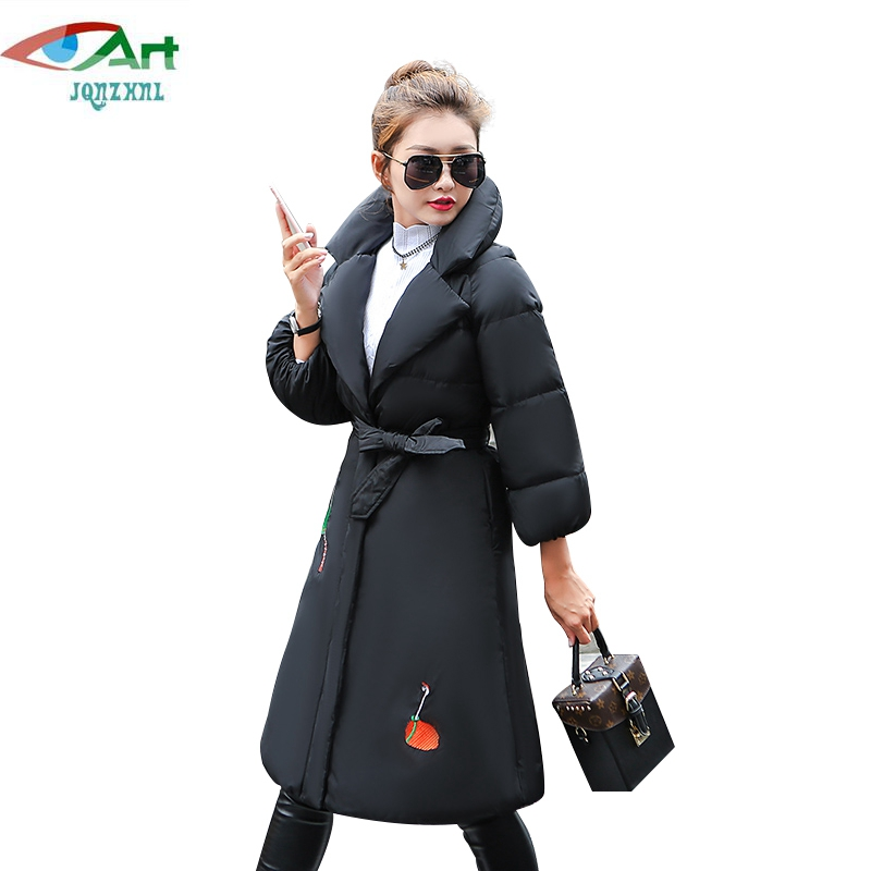 JQNZHNL 2017 Winter Women Medium Long Embroidered Down Cotton Coats Fashion Turn Down Collar Slim Thick Cotton Coats Parkas E774 lavensey original new children thick cotton turn down collar fashion coats for girl baby clothing free shipping