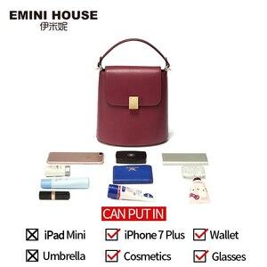 Image 4 - EMINI HOUSE Padlock Bucket Bag Female Crossbody Bags For Women Split Leather Solid Color Luxury Handbags Women Bags Designer