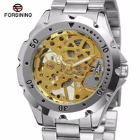 FORSINING Unisex Mechanical Hand Wind Watch Gold Skeleton Dial Vintage Design Stainless Steel Strap Luxury WINNER