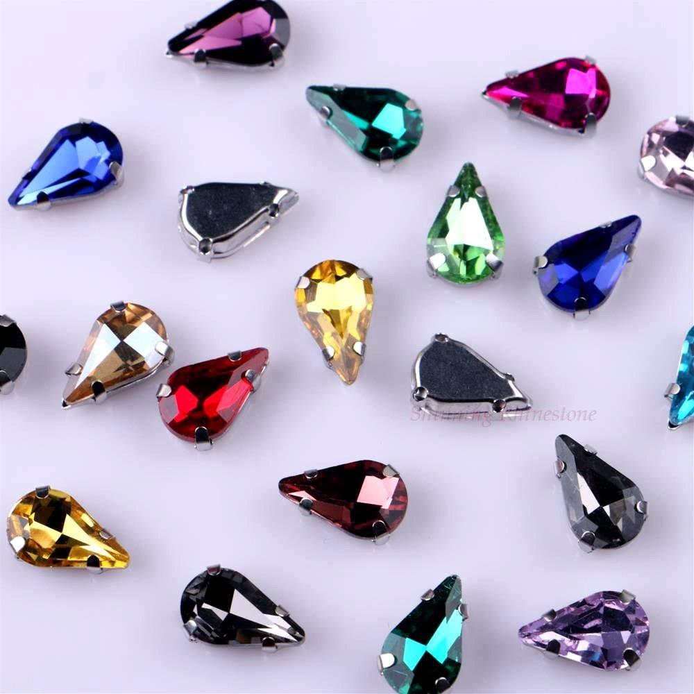 Узкий Каплевидная форма стеклянные стразы с когтями пришить с украшением в виде кристаллов Камень страз с алмазными металлическими Базовая Пряжка 20 шт./упак