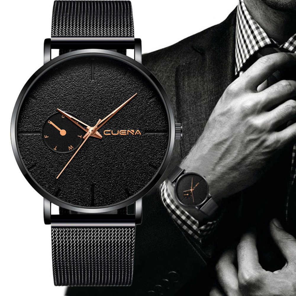 אופנה Mens שעונים למעלה מותג יוקרה קוורץ שעון גברים מקרית Slim רשת פלדת תאריך חיים עמיד למים ספורט שעון Relogio Masculino