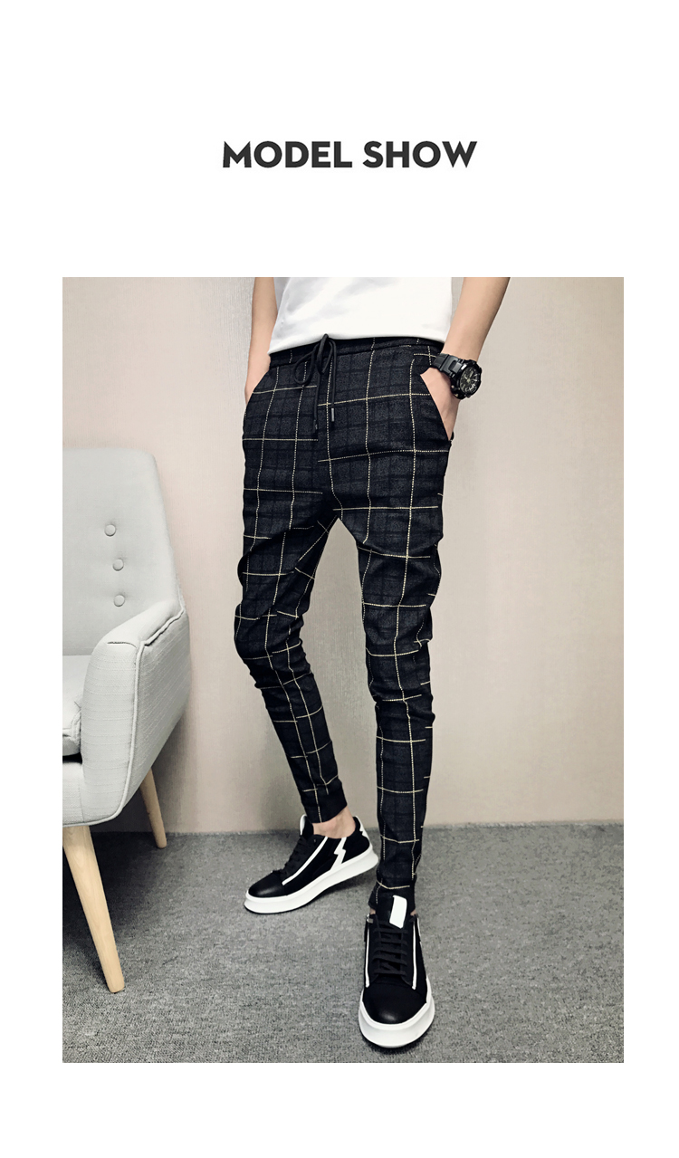 New Pants Men Slim Fit British Plaid Mens Pants Fashion High Quality 2020 Summer Casual Young Man Hip Hop Trousers Male Hot Sale 14