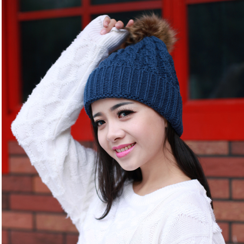 Winter Hat for Women girl 's Mink& Fox Fur Ball Cap Pom Poms Wool Hat Knitted Cotton Beanies Cap Brand New Thick Female Cap high quality real fur ball pompom winter hat for women wool hat knitted cotton beanies cap brand new thick female hat