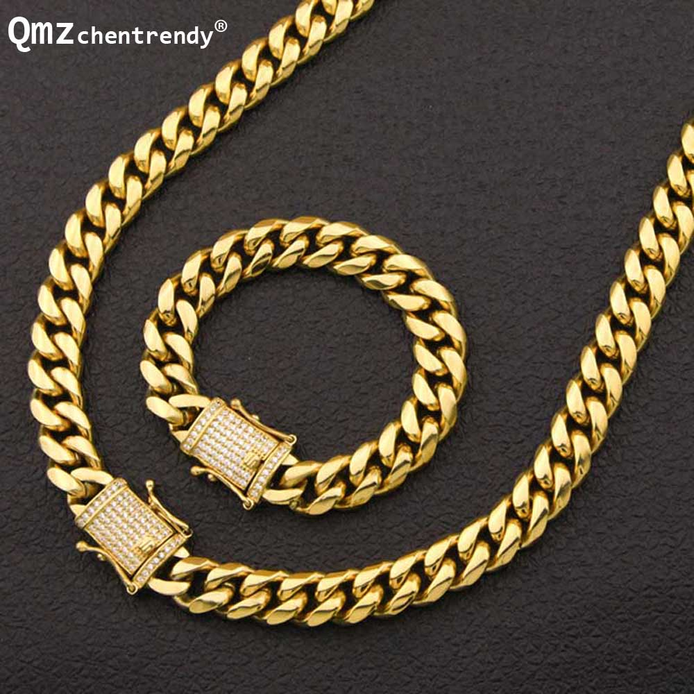 Modest Hip Hop New 10/14mm Stainless Steel Curb Cuban Chain Rapper Necklace Bracelet Boys Mens Rhinestone Dragon Cz Clasp Jewelry Sets