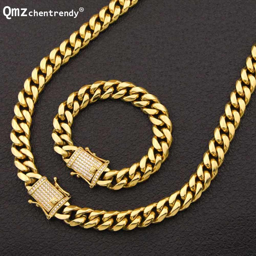 Hip Hop nouveau 10/14mm acier inoxydable gourmette chaîne cubaine rappeur collier Bracelet garçons hommes strass Dragon CZ fermoir ensembles de bijoux