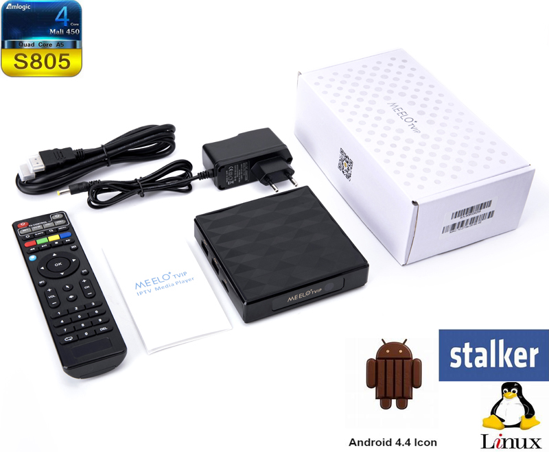 MEELO TVIP Amlogic S805 Quad Core Linux Smart TV Box Support WEB portal H.265 MEELOPLUS 5pcs android tv box tvip 410 412 box amlogic quad core 4gb android linux dual os smart tv box support h 265 airplay dlna 250 254