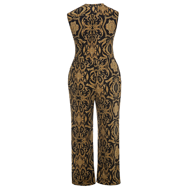 Plusee Jumpsuit Plus Size 4XL 5XL Women 2017 Golden Slim Wide Legs Geometric Color Block Button Pocket Print Plus Size Jumpsuit 5