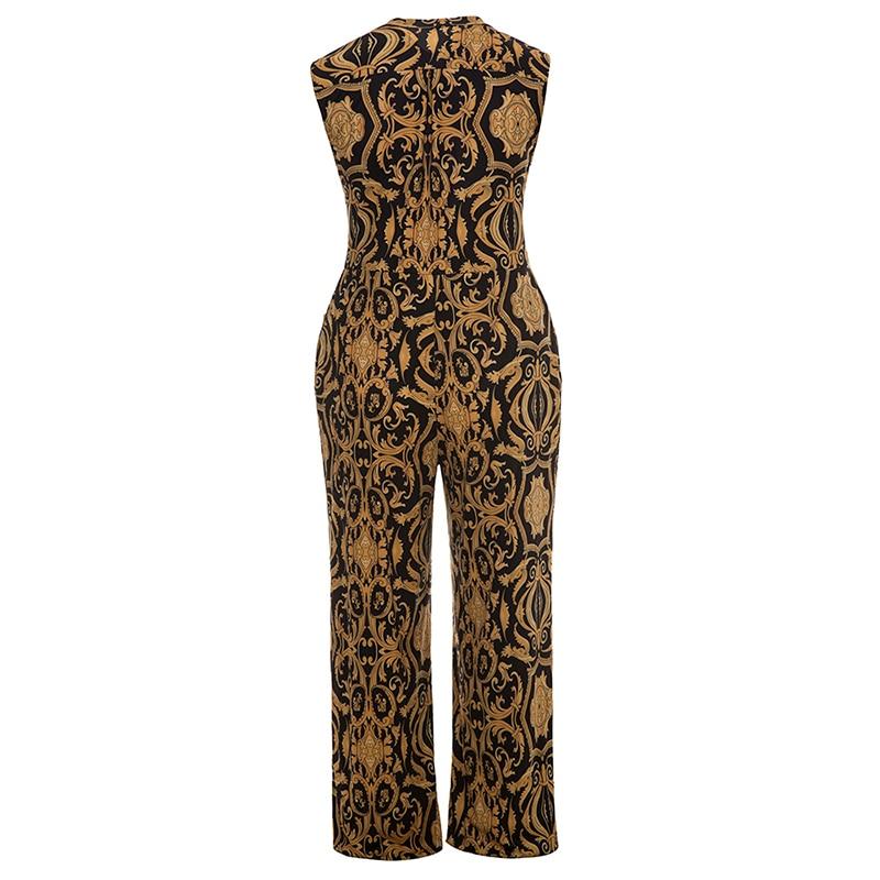 Plusee Jumpsuit Plus Size 4XL 5XL Women 2017 Golden Slim Wide Legs Geometric Color Block Button Pocket Print Plus Size Jumpsuit 5
