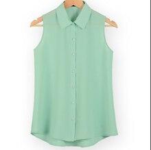 Новая мода для работы офисные топы блузки лето отложным воротником без рукавов Женщины шифон рубашка тонкий рубашки цвета женский Camisa жилет