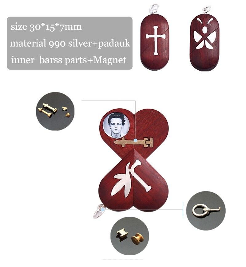 Fait à la main personnaliser bois croix collier pendentif peut changer coeur médaillon forme papillon collier bijoux femmes hommes cadeau - 6