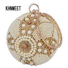Дизайнерская женская сумка на ремешке с золотыми шариками, с серебряными бусинами и жемчугом, мини сумка на цепочке, Дамская Свадебная вечерняя сумочка, клатч