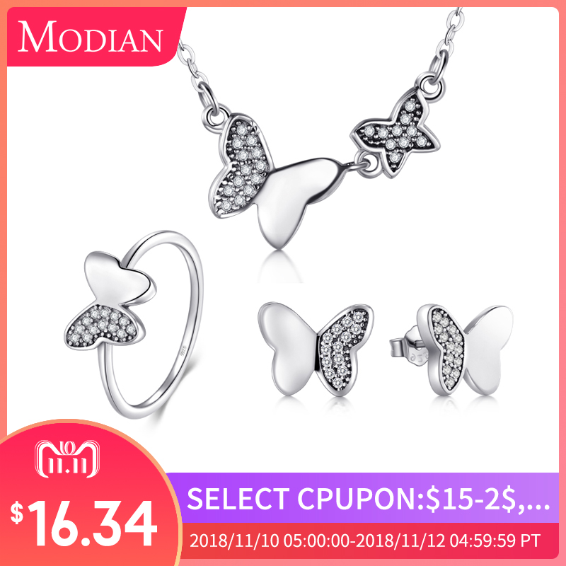 Modian 100% Real 925 Sterling Silver Butterfly Jewelry Sets Classic Simple With 5A CZ Ring Vintage Pendant Necklace For Women vintage rivet hollowed butterfly ring for women page 7