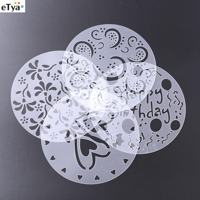 4Pcs Set 8 Inch Flower Heart Cake Surface Spray Stencils Template Happy Birthday Mold