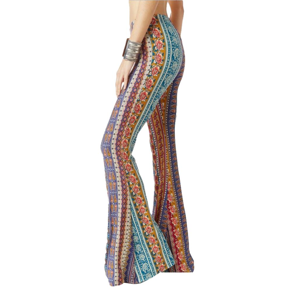 2019 Summer Boho Vintage Ethnic Flower Print Gypsy Women High Waist Bell Bottom Loose Wide Leg Flared Long Pants Trousers