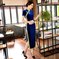 New Arrival Velvet Long Cheongsam Dress Vintage Fashion Blue Black Red Solid Color Chinese Traditional Qipao