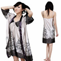 Venta de la promoción mujer traje y del vestido 2015 recién llegado de mujer para mujer ropa de dormir pijamas set Robe y sleepdress envío gratuito