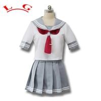 Japanese Anime Love Live Sunshine Cosplay Costume Takami Chika Girls Sailor Uniforms Love Live Aqours School