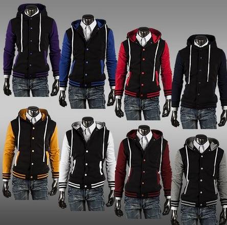 mens varsity jackets leather sleeves baseball plain black letterman jacket hip hop outerwear clothing - Fashion Clothing Sale store
