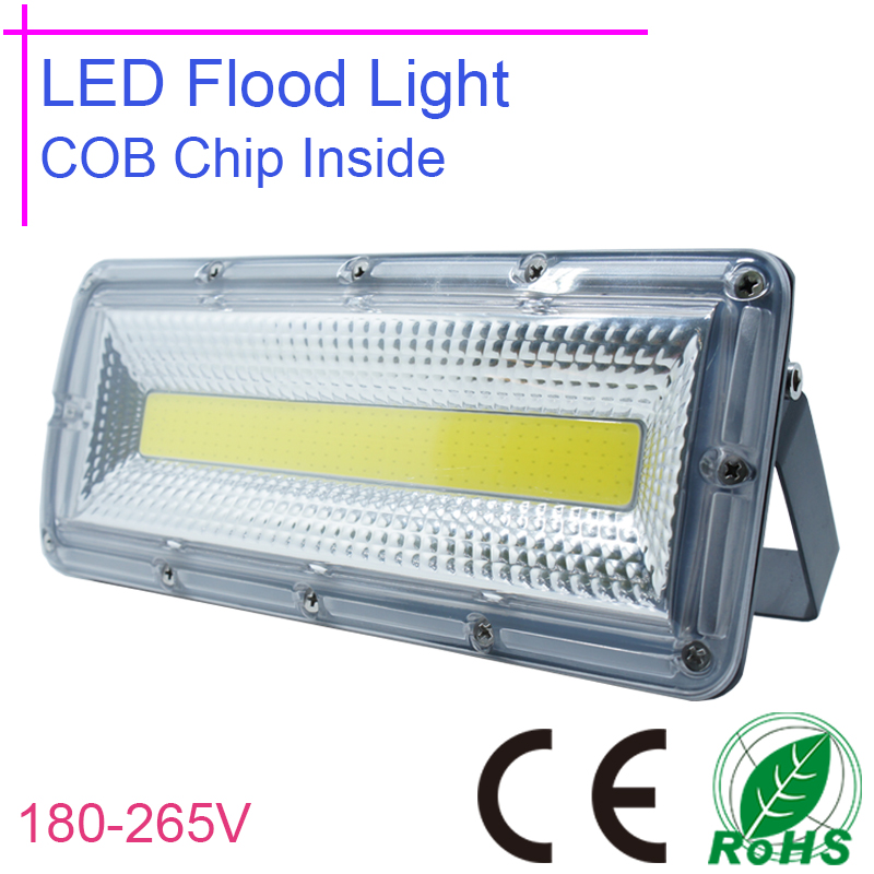 ФОТО 50W LED Flood light LED Flood Lights 220v 180v-265v COB Chip Ip67 Waterproof Flood Lamp Yard Garden Lighting