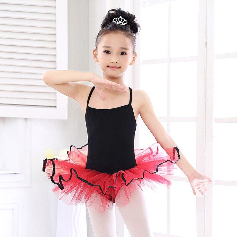 bfcc51bdbcbd Simple Stlye Black+Red Ballet Tutu Leotards Children Bodysuit Dance ...