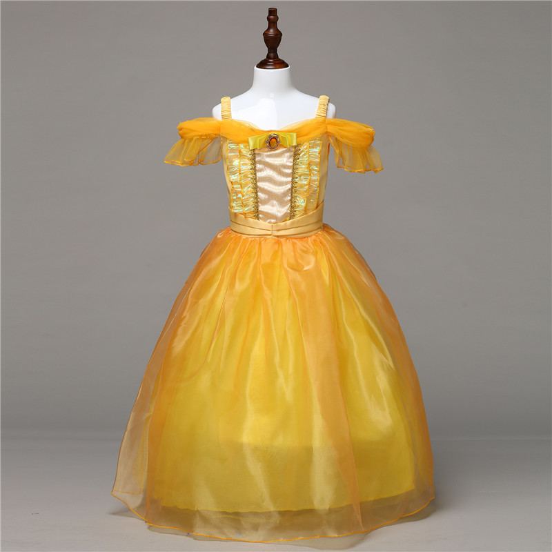 Formal Kids Party Belle Dress Girls Christmas Costumes Beauty and The Beast Cosplay Clothing Children Princess Belle Dress 4-10Y nnw beauty and the beast belle cosplay princess fancy kids costumes grils yellow dresses with sleeve hight quality