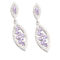 Glamorous Purple Amethyst 2 2mm Semi Precious Silver Cool For Womens Stud Earrings ED0340