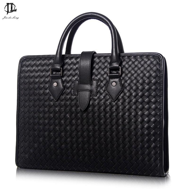 Business Bag Briefcase Leather Woven Pattern Zipper Buckle With Shoulder Handbag Mens Business Bag