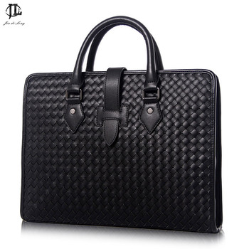 Business Bag Briefcase Leather Woven Pattern Zipper Buckle With Shoulder Handbag Mens Business Bag fasiqi local tyrants gold a bag of crocodile leather handbag with a handbag with a long zipper bag with gold gold
