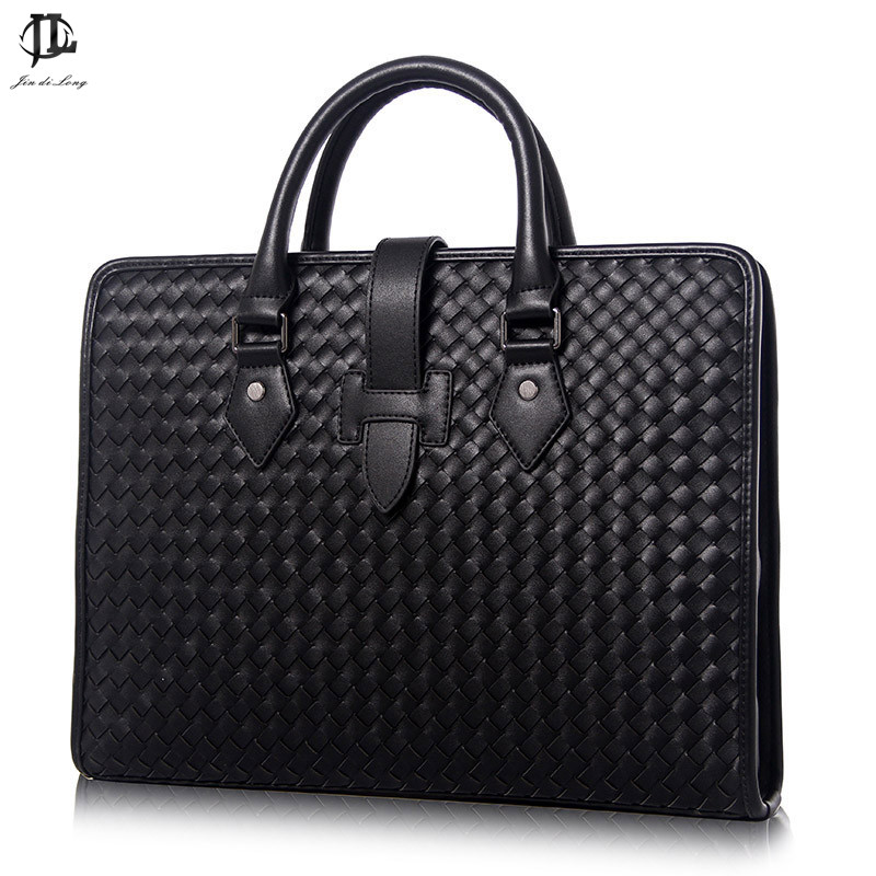 Men's Bag Luxury Genuine Leather Weave Pattern Black Blue Briefcase Bag Fashion Business Handbag Men Zipper Shoulder Bag