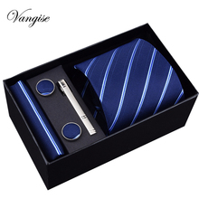 Tie Set Brand Mens Ties Causal  Jacquard Woven for Men Handkerchief Cufflink Business High-grade Gift Box 5 Sets Necktie