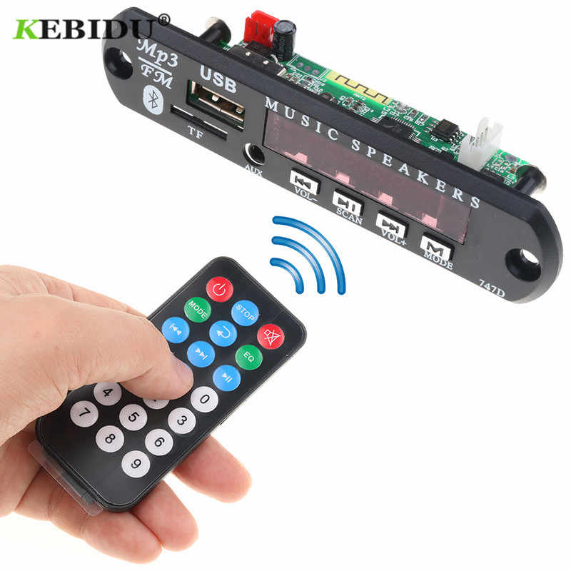 Kebidu Senza Fili di Bluetooth MP3 Modulo scheda di Decodifica Audio USB TF di FM Radio AUX 12V 24V per Auto + a distanza di Controllo per il iPhone Huawei