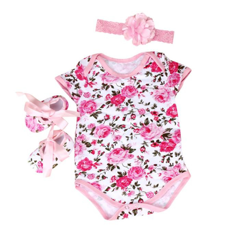 Whole Sale Baby Girl 3pcs Floral Romper Bodysuit headband Shoes Sets Clothes Babys Sets newborn Summer dresses Ropa mujer
