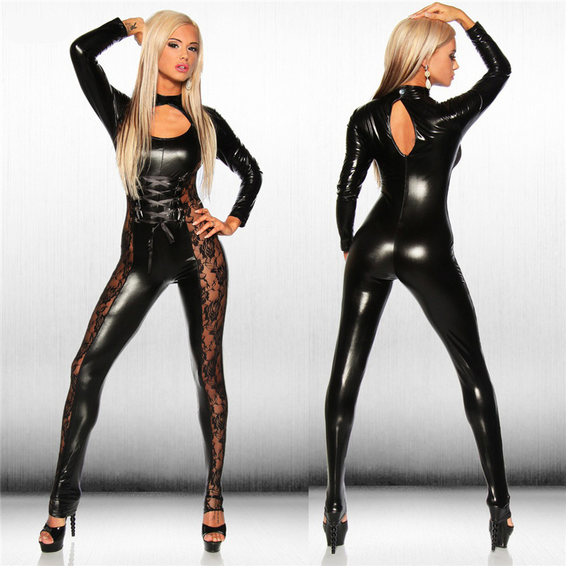 Black Leather Jumpsuit Bamgage Costumes Spandex Erotic Fetish Catsuit Latex Faux PVC Leather Jumpsuit Clubwear Lace Bodysuit