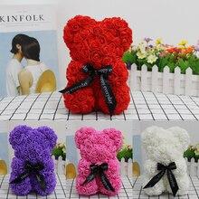 Горячая Распродажа, подарок на день Святого Валентина, 25 см, красная роза, плюшевый мишка, цветок розы, искусственное украшение, рождественские подарки для женщин, подарок на день Святого Валентина
