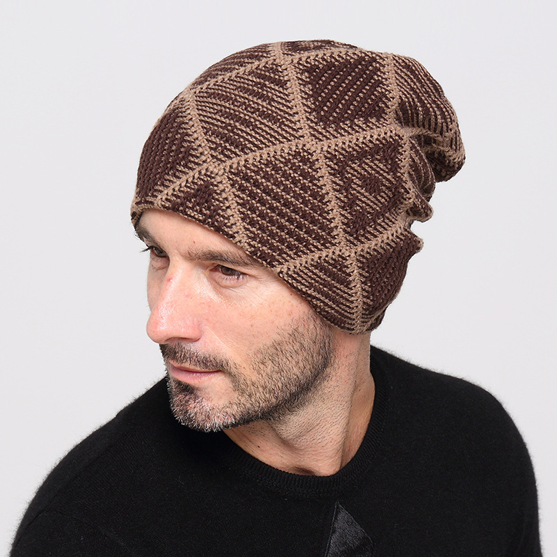 29d035672 US $4.64 5% OFF 6 Colors Autumn Winter Plaid Beanie for Women Men Warm Soft  Beanie Skull Knit Cap Hats Trend Knitted Gorro Ski Caps for Unisex-in ...