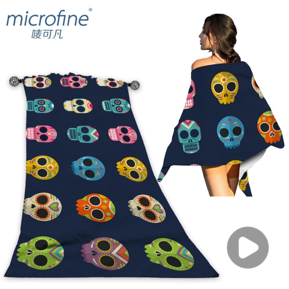 Microfine Skull Beach Towel Microfiber Pool Towels For Kids Large Yoga Mat Luxury Surf Poncho Towels Summer 2018
