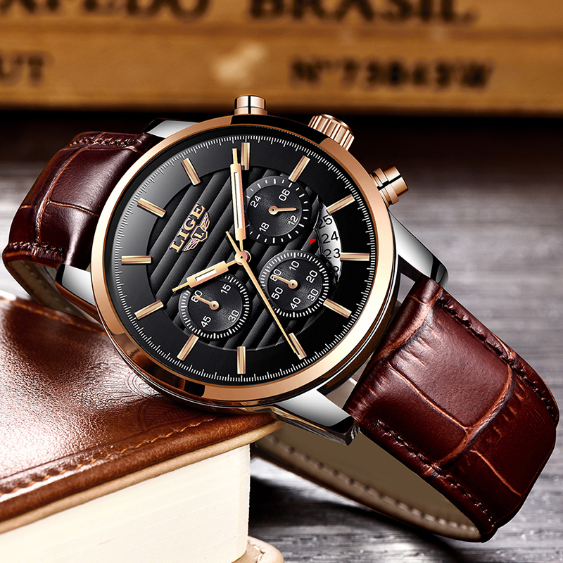 2020 LIGE Mens Watches Top Brand Luxury Business Quartz Wristwatch Men Casual Leather Waterproof Soprts Watch Relogio Masculino