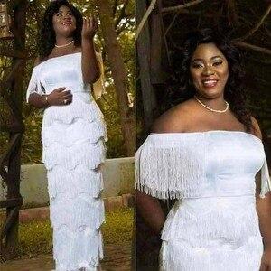 Image 1 - الملابس الأفريقية الأنيقة شرابات Bodycon فستان المرأة 2019 الصيف مائل الرقبة الأبيض ضمادة طويلة فستان ماكسي رداء باتي