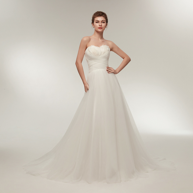 Sweetheart Neckline Wedding Dress.Us 87 75 35 Off Romantic Ostrich Feather Wedding Dress Sweetheart Neckline Ruffled White Tulle Beach Wedding Gown 2018 New Arrival Real Sample In