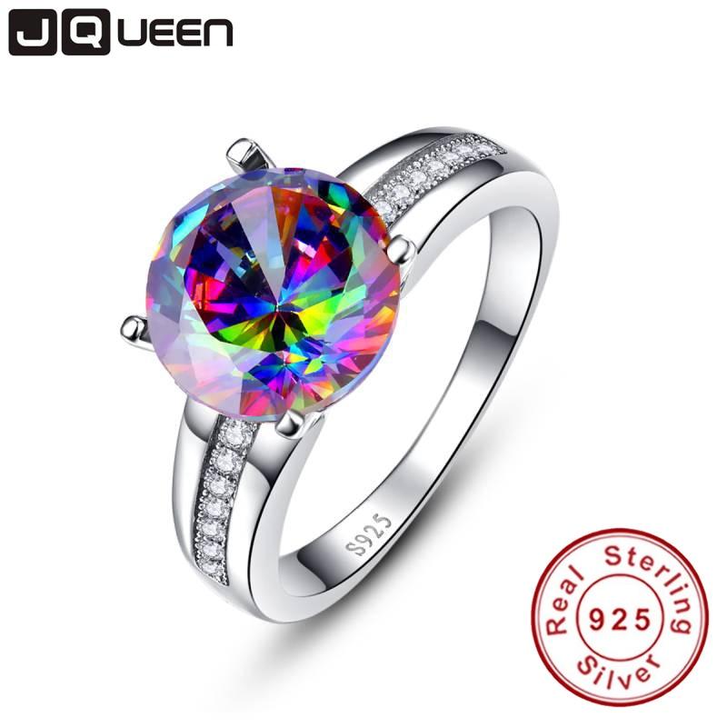 Merk sieraden 6.3Ct opvallend Rainbow Fire Mystic Topaz Ring voor Lady verjaardagscadeau 925 Solid Sterling Zilver maat 6 7 8 9