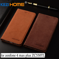 For Asus Zenfone 4 Max Plus Case Flip Matte Genuine Leather Soft TPU Back Cover For