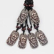 12 stücke Mens Yak Knochen Pulver Harz Geschnitzte Tribal Chef Halskette Anhänger 58x32mm